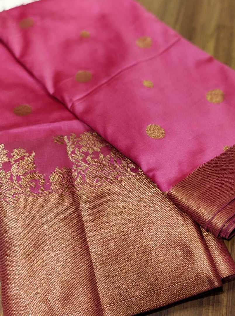 Beautiful peach pink soft silk saree with wide golden zari border - EthnicRoom