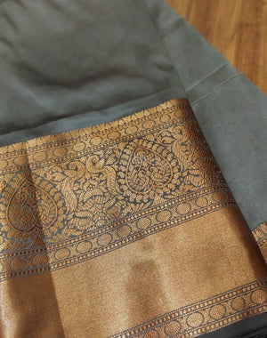 Gray soft silk saree with beautiful wide goldwn zari border - EthnicRoom