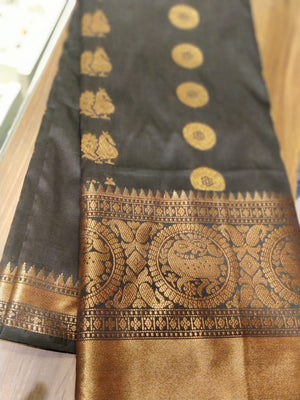 Black soft silk saree with allover golden zari butties with zari border - EthnicRoom
