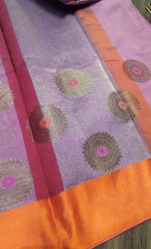Onion pink chanderi saree with beautiful golden butties on border - EthnicRoom