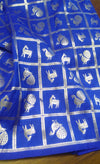 Royal blue benarasi blouse fabric with silver zari checks - EthnicRoom