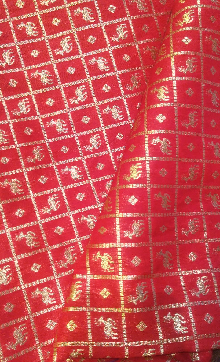 Bright red  benarasi blouse fabric with allover golden zari checks - EthnicRoom
