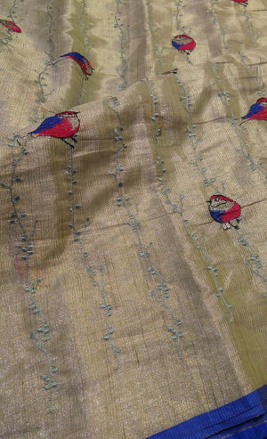 Silver linen zari saree with allover birds embroidery blue border - EthnicRoom