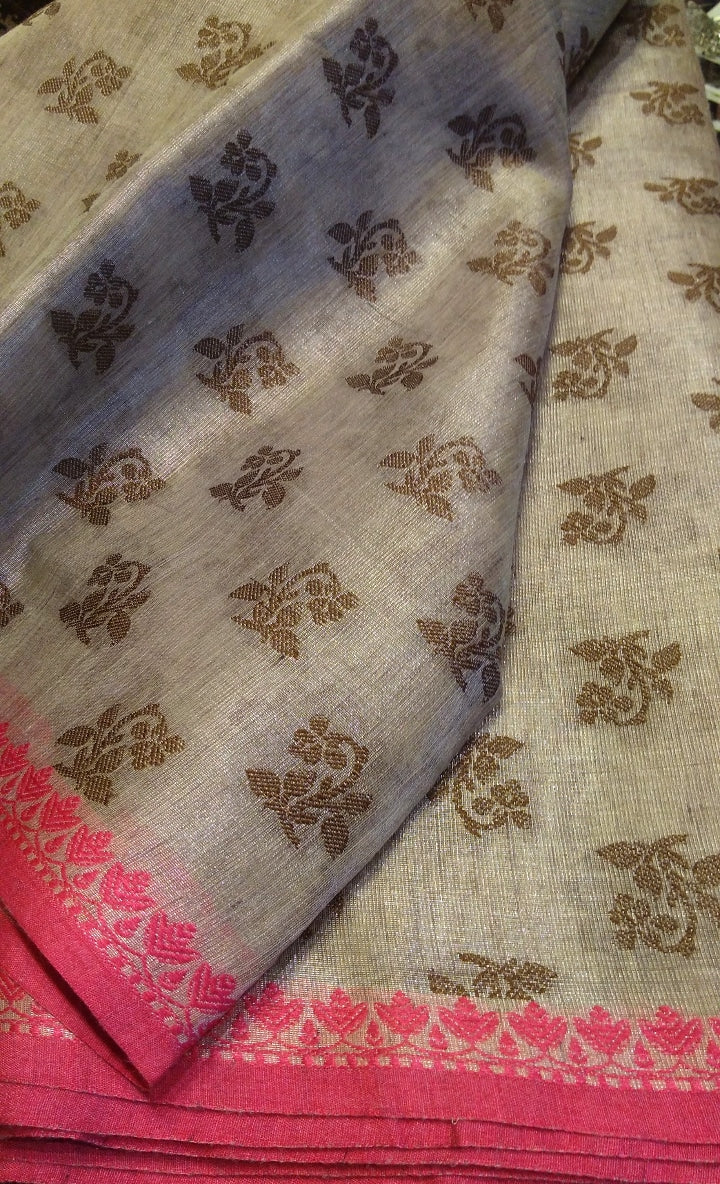Silver linen zari saree with allover butties and contrasting border - EthnicRoom
