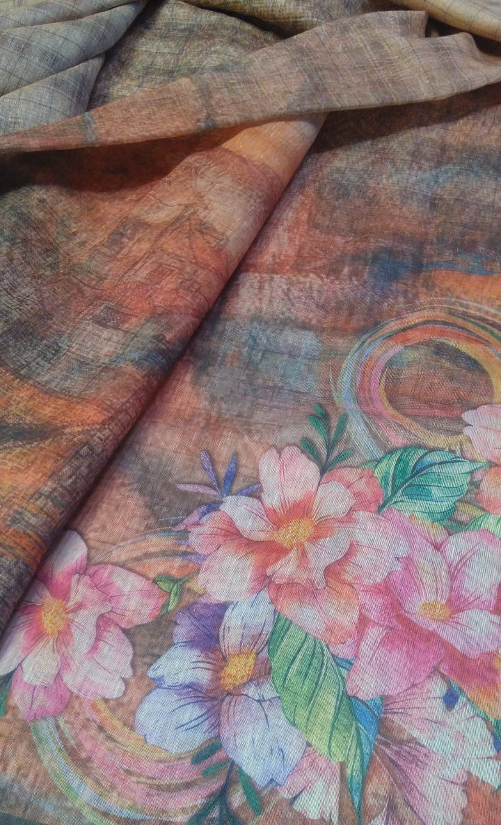 Beautiful printed flower jaal on light brown linen saree - EthnicRoom