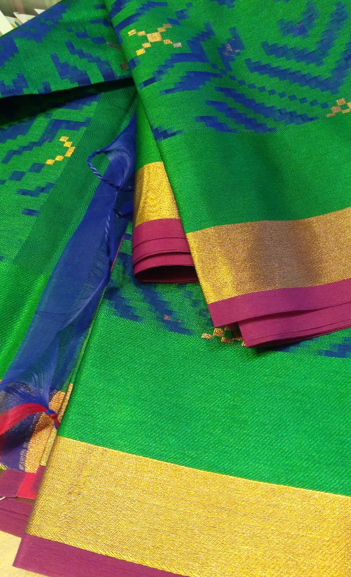 bright kora saree in green and blue with geometric pattern - EthnicRoom