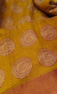 Beautiful printed dull brown pure linen saree - EthnicRoom