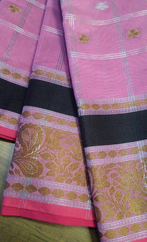 Pink chanderi saree with black golden border