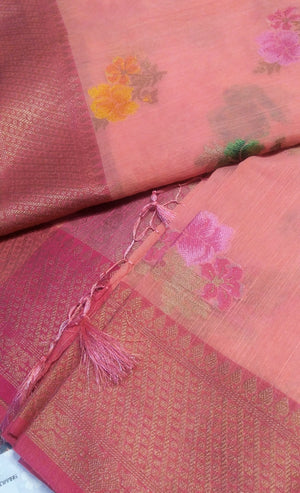 Beautiful peach pink jute cotton saree with allover floral butties - EthnicRoom