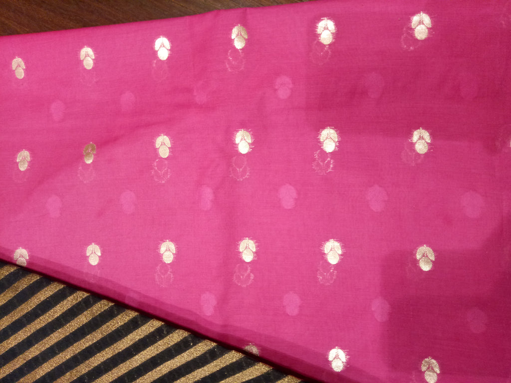 Steel grey Chanderi dupatta with pink chanderi suit material