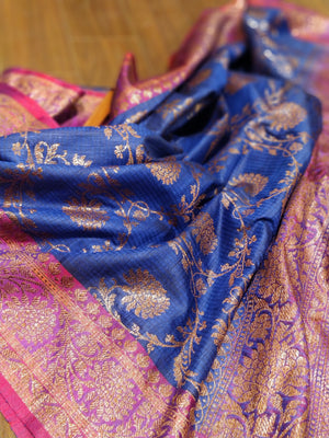Pure dupion silk in royal blue with antique gold floral jaal - EthnicRoom
