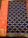 Navy blue dupatta with orange brocade suit material - EthnicRoom