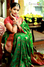 Pure dupion silk saree in bottle green with red border and golden floral jaal allover - EthnicRoom