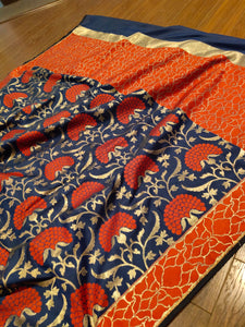 Navy blue upada pure silk saree with jaal overall - EthnicRoom