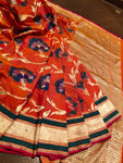 Multicolore pure upada silk with floral jaal weaving all over - EthnicRoom