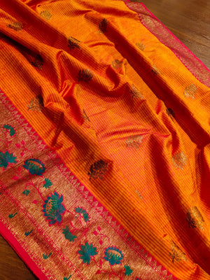 Rust orange pure dupion silk saree