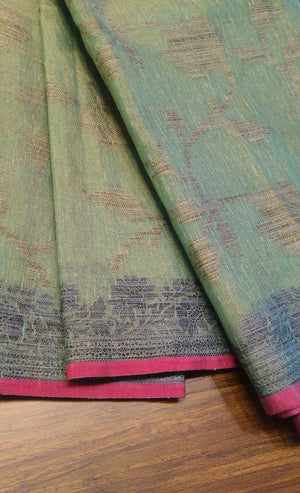 Zaal weaving on Green linen zari saree with beautiful pink border - EthnicRoom