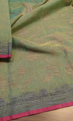 Green linen zari saree with beautiful pink border - EthnicRoom