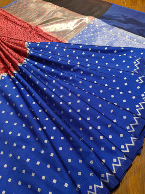 Horizontally divided into red and blue tanchoi kora saree - EthnicRoom