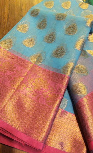 Blue kora silk saree with allover golden zari butties and pink zari border - EthnicRoom