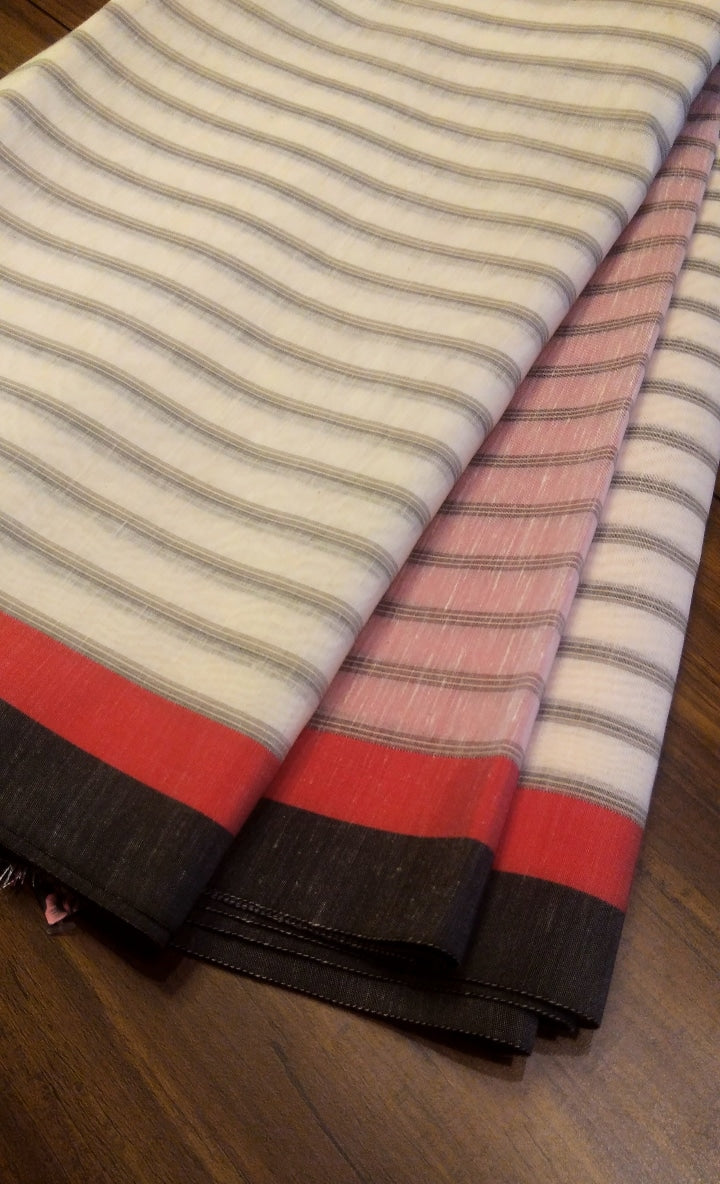 Horizontally gray stripes on White chanderi saree with red border