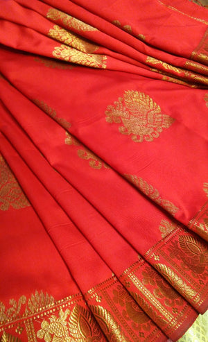 Red soft silk saree with allover butties - EthnicRoom