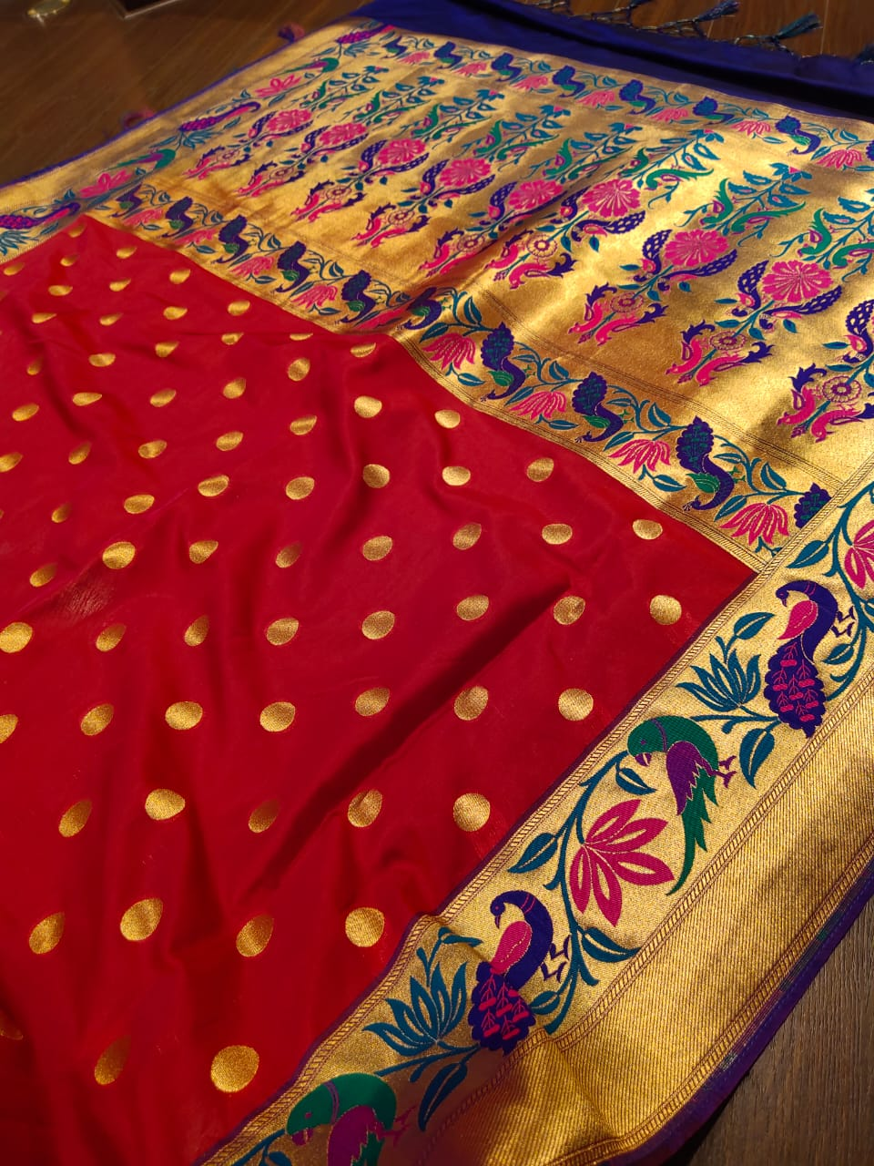 Red pure silk saree with golden zari border with multicolor motifs - EthnicRoom