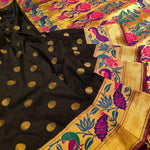 Black pure silk saree with golden border and Multicolor motifs - EthnicRoom