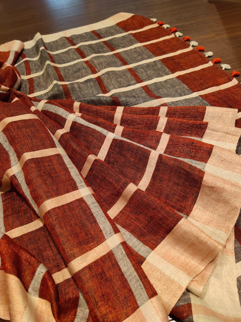 Brown and grey check linen saree - EthnicRoom