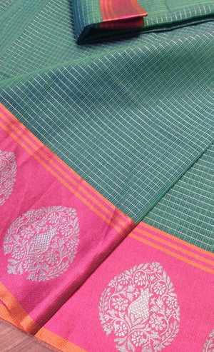 Green kota saree with pink silver zari border contrasting aanchal and blouse - EthnicRoom