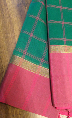 Dark green chanderi saree with allover pink checks - EthnicRoom