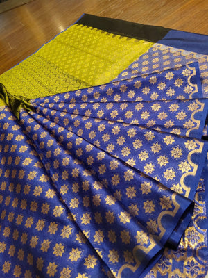 Horizontally divided in green and blue tanchoi kora saree with golden weaving - EthnicRoom