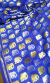Beautiful golden and silver small elephant motifs on blue blouse fabric - EthnicRoom