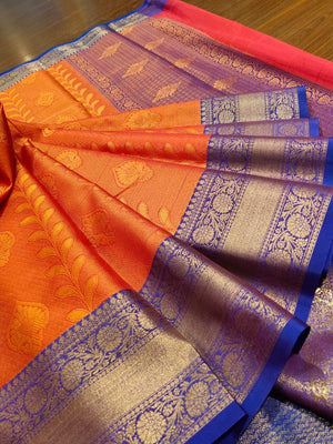 Orange tanchoi kora saree with blue border and golden zari weaving - EthnicRoom
