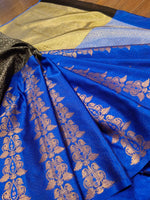 Horizontally divided in steel grey and blue tanchoi kora saree with golden zari weaving - EthnicRoom