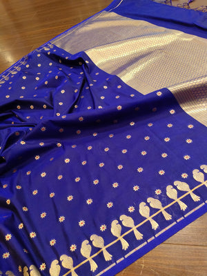 Border of zari birds on ink blue silk saree - EthnicRoom