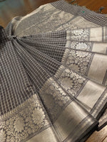 Grey check soft silk saree with sliver zari weaving - EthnicRoom