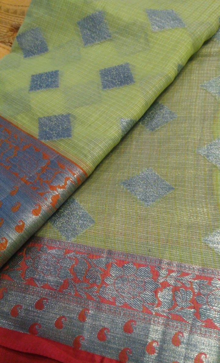 Beautiful pista green kota saree with allover silver zari butties - EthnicRoom