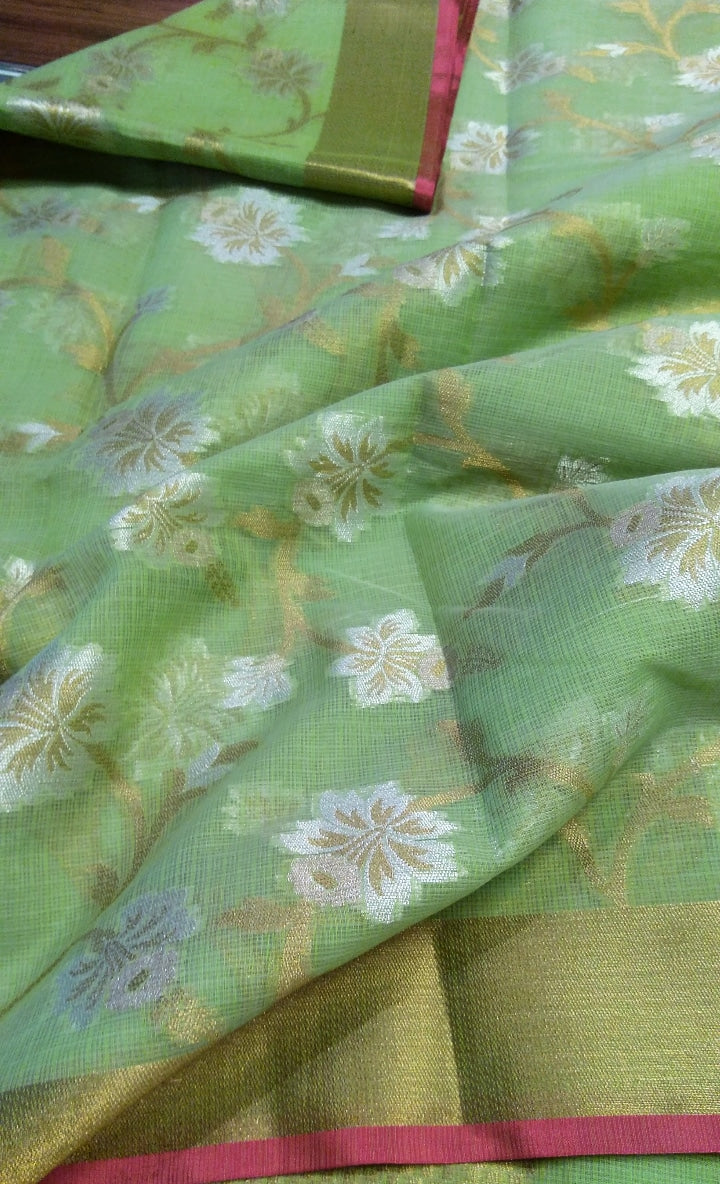 beautiful golden and silver floral zaal on pista green kota saree - EthnicRoom