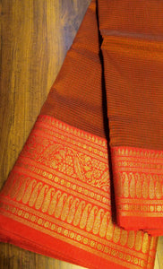 Brown chanderi saree with meenakari border contrasting aanchal and blouse