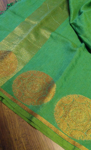 green linen silk dupatta with antique zari borderDT143 - EthnicRoom