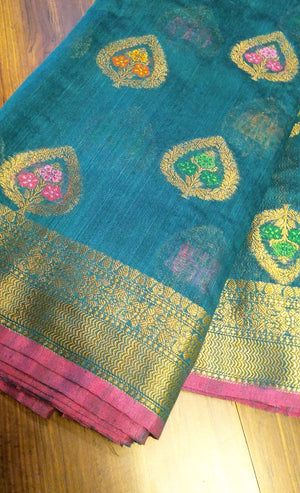 peacock blue jute cotton saree with allover butties