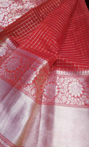 Red chanderi saree with allover checks