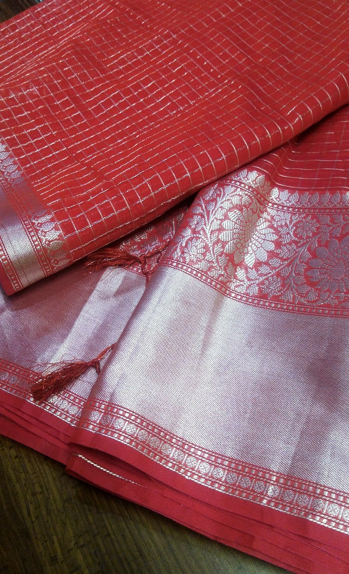Rust orange chanderi saree with allover silver checks