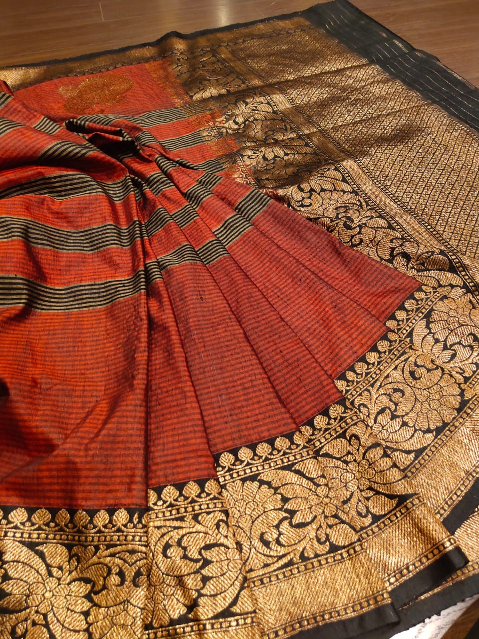 Brown dupion silk saree with golden zari weaving - EthnicRoom
