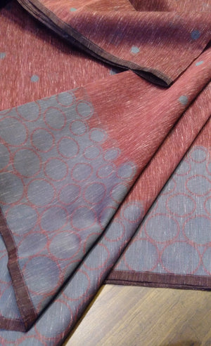 maroon Soft linen saree with gray border