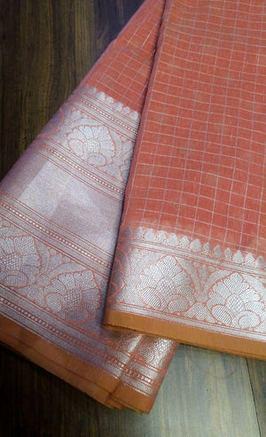 Dull orange soft linen saree with wide silver zari border - EthnicRoom