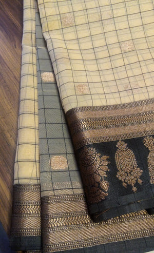 Beige kora silk saree with broad checks all over and black border - EthnicRoom