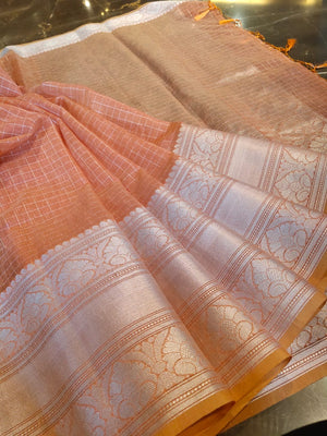 Light orange check linen saree with silver zari weaving - EthnicRoom