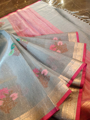 Grey linen saree with golden zari weaving and Multicolor flowers all over - EthnicRoom